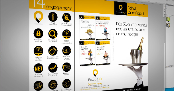 Des outils de communication pour Place de l'Or Toulouse (graphisme, illustration, retouche photo)